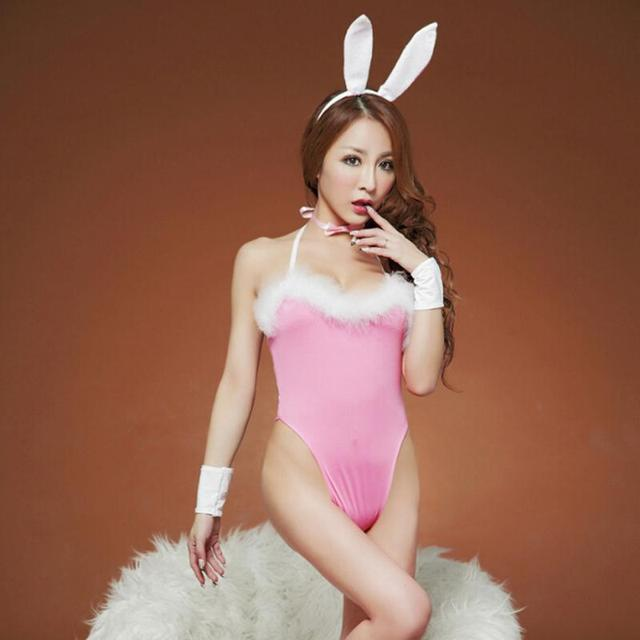 440a48c0fc1 Hot Fancy Bunny Rabbit Full Set Cosplay Costume Sexy Lingerie Babydoll Lace  Nightwear Teddy Party Black Pink