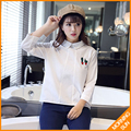 2017 spring new Korean hedging bottoming shirt embroidered cotton shirt female college wind #4232