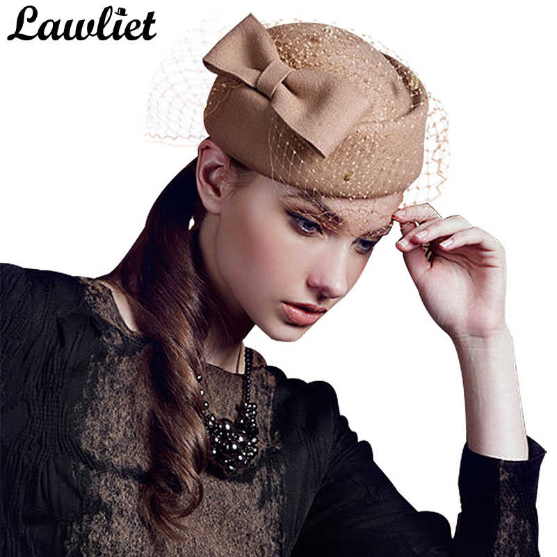 a5eb59439 ... Winter Fedoras Pillbox Hats Vintage Style Wool Felt Women Fascinator Hat  with Bow Veil Wedding Hats ...