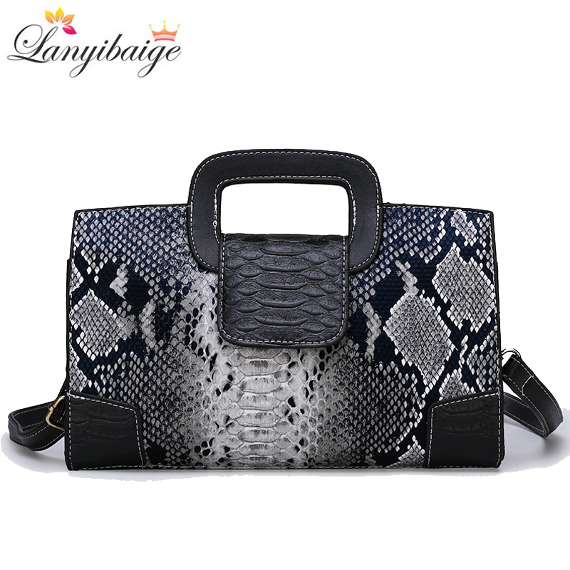 Classic Ladies Handbag Snake Printing High Quality Leather Ladies Crossbody Bag 2019 Luxurious Brand Women Shoulder Bag Tote