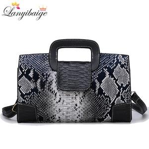 Image 1 - Classic Ladies Handbag Snake Printing High Quality Leather Ladies Crossbody Bag 2019 Luxurious Brand Women Shoulder Bag Tote