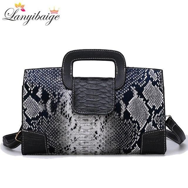 Classic Ladies Handbag Snake Printing High Quality Leather Ladies Crossbody Bag 2019 Luxurious Brand Women Shoulder Bag Tote