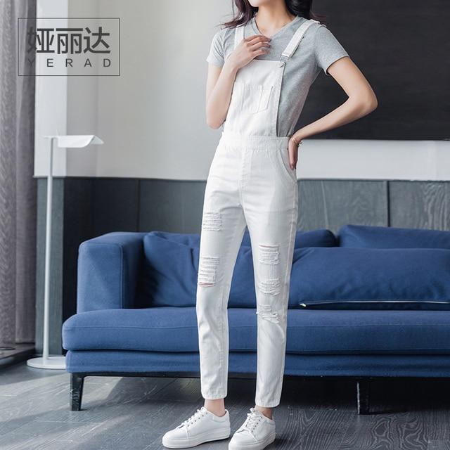1cfeadfad5efd Yerad femmes blanc déchiré jeans salopette barboteuse de mode denim pantalon  à bretelles cheville longueur crayon