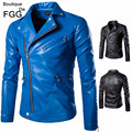 Size M-5XL Blue\Black Faux Leather PU Men Casual Motorcycle Jackets and Coats Slim Fit Zippers Fashion Jaqueta Couro Masculina