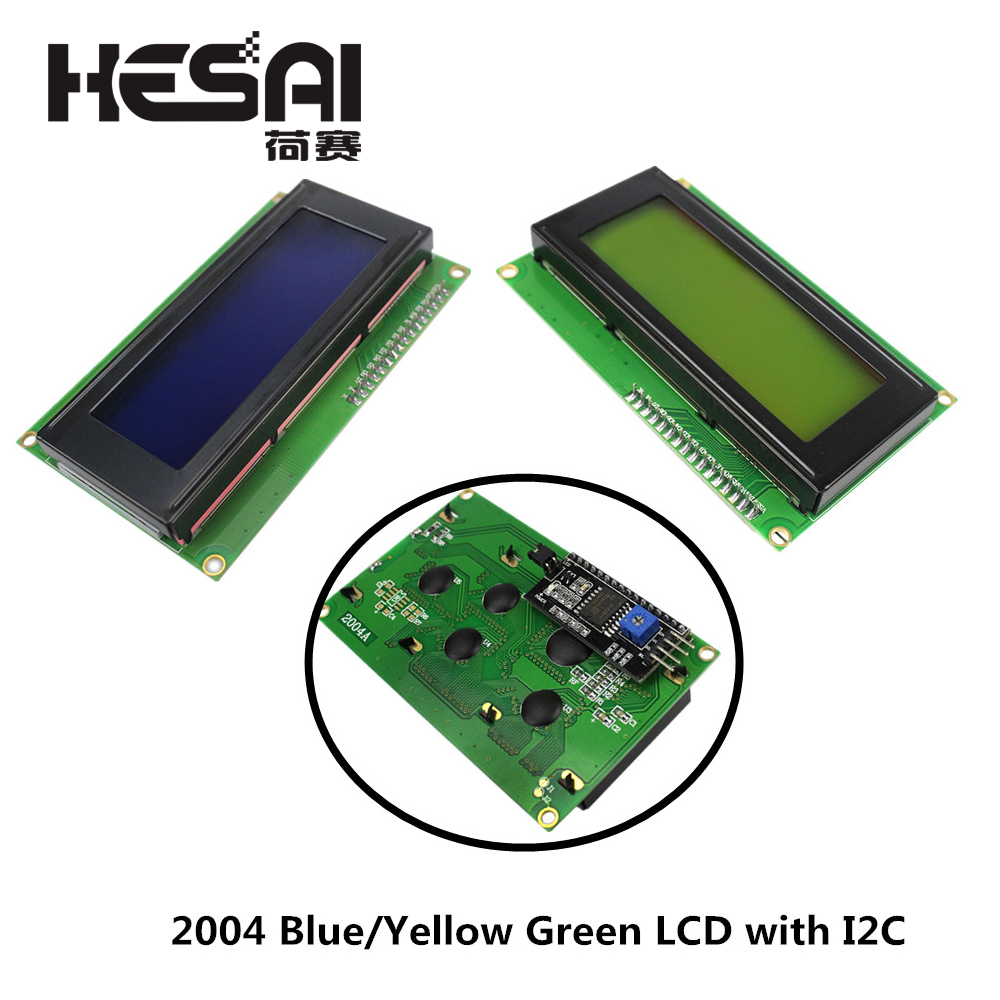 2004 20x4 2004A Blue/Yellow Green Screen HD44780 Character LCD With IIC/I2C Serial Interface Adapter Module For Arduino DIY Kit