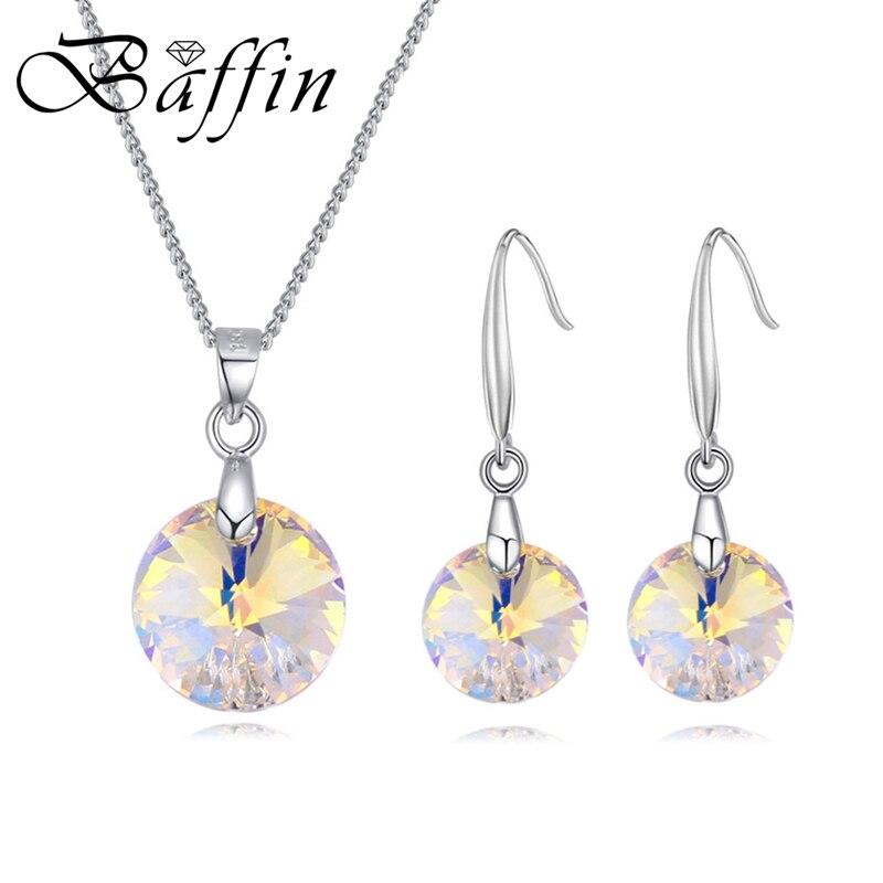 gran descuento bf2f0 023c5 € 4.3 50% de DESCUENTO BAFFIN Simple cristales originales de SWAROVSKI  colgantes redondos collar gota pendientes mujeres fiesta regalos Color  plata ...