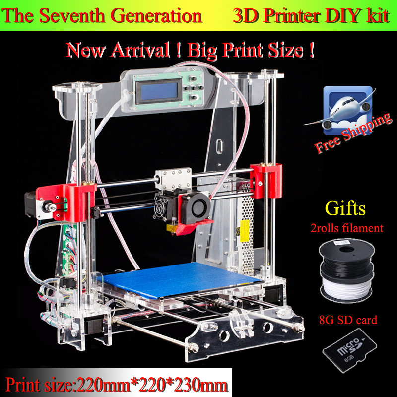 Big print size High Quality Precision Reprap Prusa i3 3d Printer DIY kits with 2 Roll Filament 8GB SD card