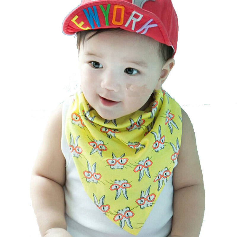 2016 New Button Style Baby Boy Bibs Glasses Rabbit Print Infant Bibs Both Sides Cotton Scarf Bibs Bandana Burp Cloths Moms Care