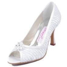 Elegant Dress Shoes for Woman EL10022 White Ivory Peep Toe Stiletto Heel 3.5″ Pearls Rhinestones Wedding Pumps Bridal Shoes
