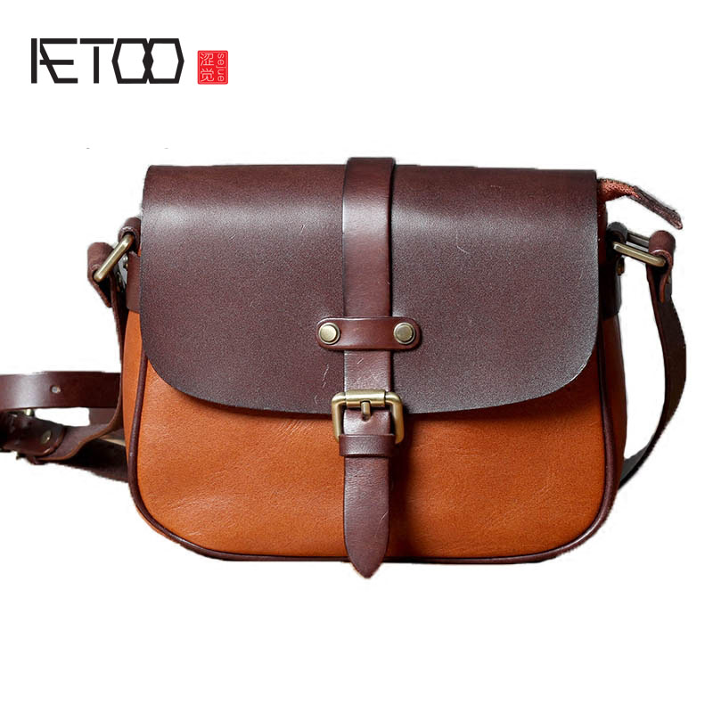 AETOO Classic first layer of leather saddle bag wild personality art leather handmade small satchel college wind shoulder bag aetoo new handmade leather shoulder bag korean version of the school wind leisure wild first layer of leather travel leather bag