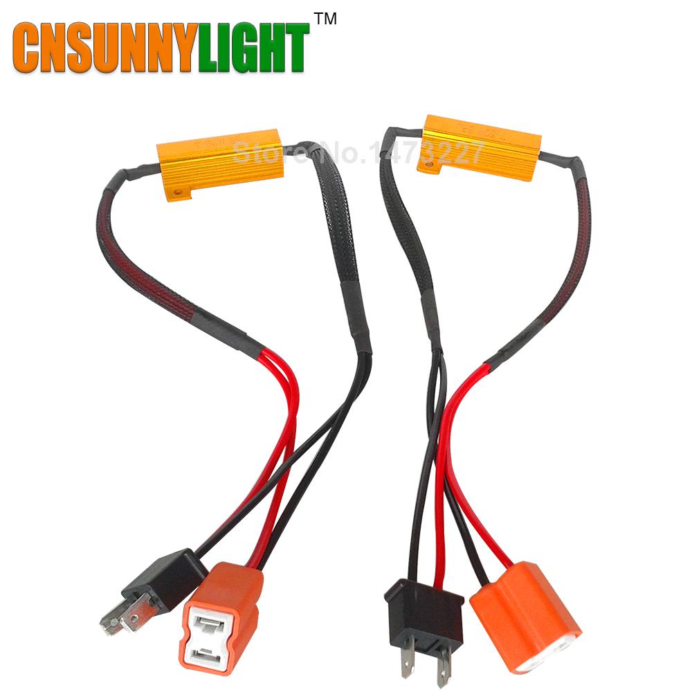 Prix pour CNSUNNYLIGHT LED Ampoule Décodeur Résistance Canbus Fil Harnais Adaptateur 50 w 6/8ohm 9-14 V pour H4 H7 H8 H9 H11 HB3 Voiture phares