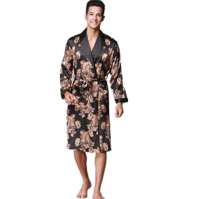 2018 Mens Luxury Satin Silk Printed Robes Bathrobe Loose Plus Size