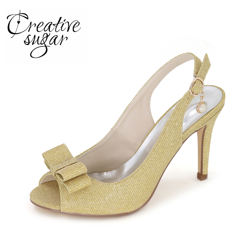 Creativesugar Sparkle glitter slingback open toe woman pumps with bow wedding party cocktail dress gold silver blue black silver creativesugar see through lace sequins high heel pointed toe woman shoes wedding party cocktail night club sky blue gold red