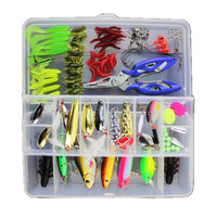 101pcs Bionic Lures Fishing Lure Bait Minnow Crank Spoon Soft Hard Bait Spinner Hook Fishing Tackle Tools