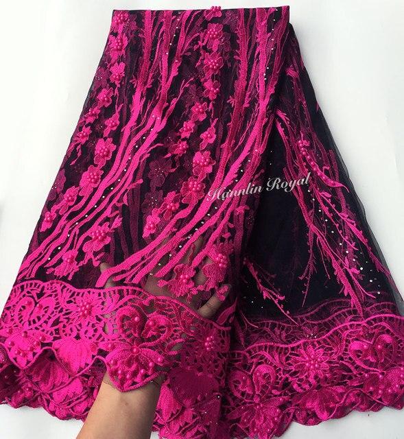 Nero Fucsia bella guipure delimitato Francese del merletto cucito tessuto di tulle maglia Africano del merletto con un sacco di perline 5 metri di buona la scelta