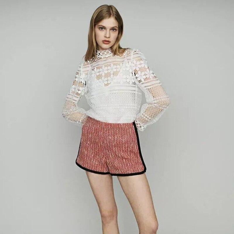 2019 New Women Pink Tweed   Shorts