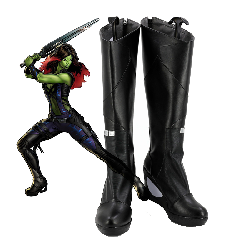 Guardians of the Galaxy Gamora Cosplay Shoes Halloween Black High Gamora Boots Custom-made Free Shipping
