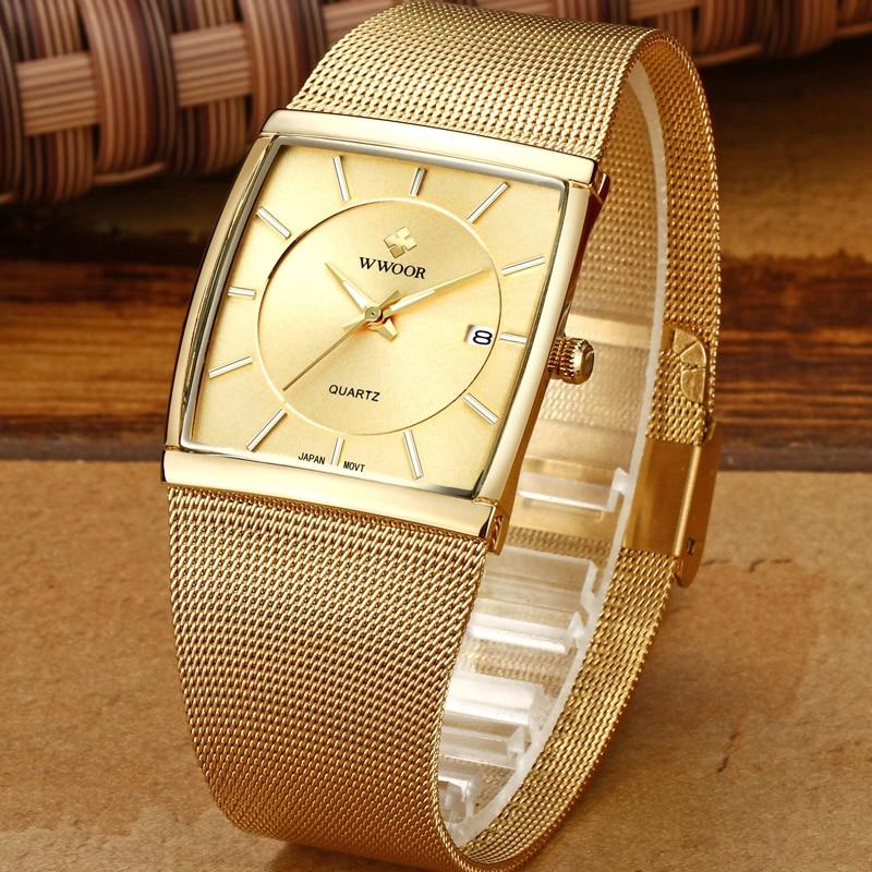 купить WWOOR Mens Watches Top Brand Luxury Quartz Watch Men Steel Mesh Strap Square Casual Waterproof Sport Watch Relogio Masculino по цене 1516.77 рублей