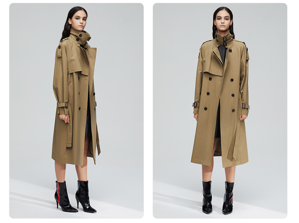 JAZZEVAR 19 New arrival autumn top trench coat women double breasted long outerwear for lady high quality overcoat women 9003 17