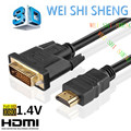 HDMI на DVI Кабель Позолоченные Разъем DVI кабели 5 м 3 м 2 м 1 м DVI-D 24 + 1 Контактный Адаптер High speed 3D 1080 P для LCD HDTV XBOX PS3 19