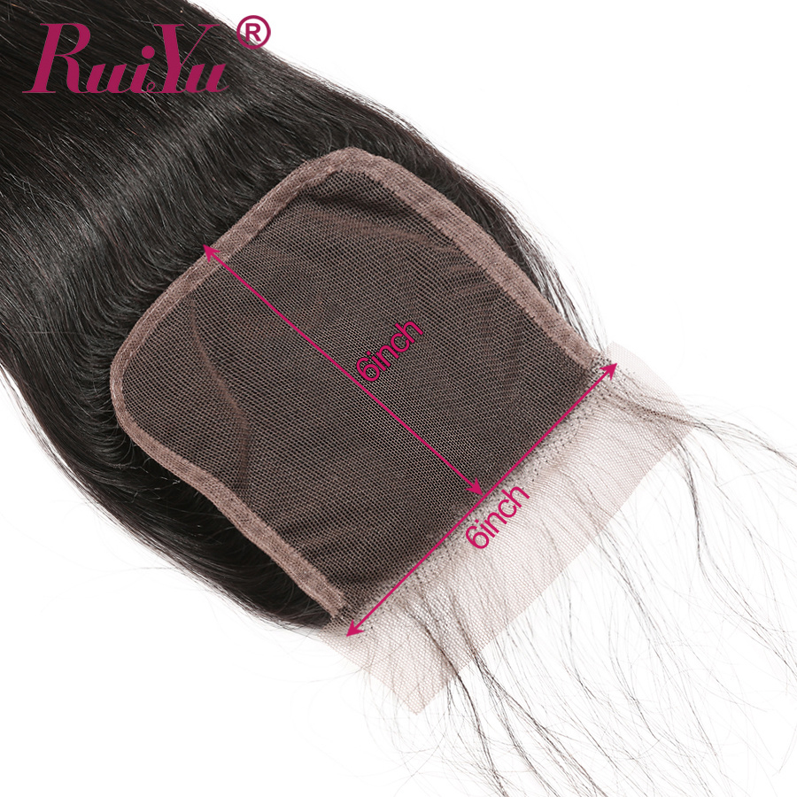 RUIYU 6x6 Lace Closure Brazilian Straight Human Hair Swiss Lace Closure Pre Plucked With Baby Hair Natural Hairline Remy Hair-in Closures from Hair Extensions & Wigs    3