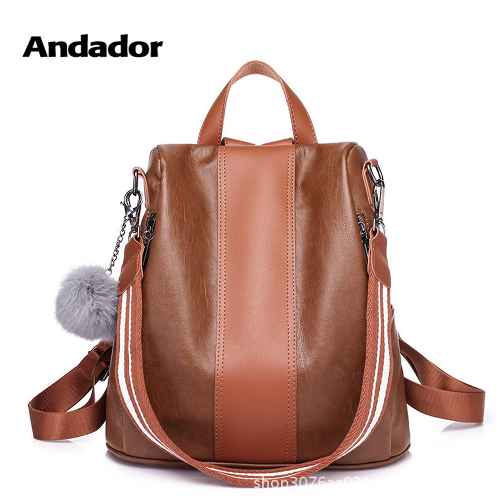 Anti-Theft Backpack Shoulder-Bag Brown Large-Capacity Female Vintage Casual Women New-Fashion