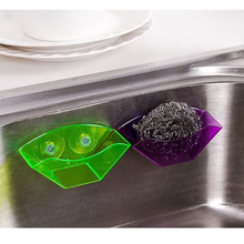 Green / Blue / Purple / Red Double Suction Cup Sink Sponge Holder Kitchen  Utensils Drying
