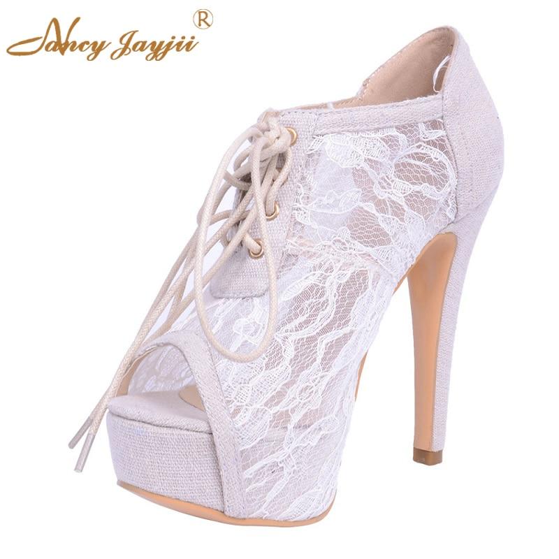 ФОТО Naancyjayjii 2017 NEW summer fashion peep toe platforms Sandals White Mesh Lace High Heels shoes Wedding&Party&Dress