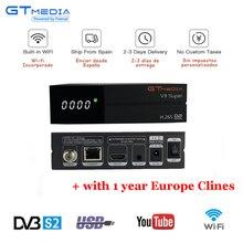GT Media V9 Super HD Satellite Receiver DVB-S2 H.265 built-in WIFI+1 Year Europe Spain CCcam TV Box Newest version of V8