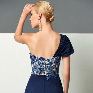 Image 5 - Dressv 다크 네이비 롱 이브닝 드레스 스플릿 프론트 드레이프 스팽글 아플리케 원 숄더 스위프 트레인 공식 파티 이브닝 드레스