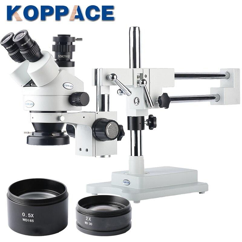 KOPPACE 3.5X-90X Grossissement Trinoculaire stéréo Zoom Téléphone Réparation Microscope 10X Oculaires Comprend 0.5X et 2.0X Objectif