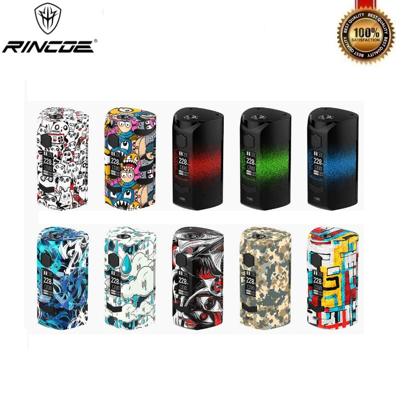 Original Rincoe Manto S Mesh 228W Box Mod Fit Metis Mix Vape Tank Powered By Dual 18650 Batteries Quick Charging VS Puma Thor