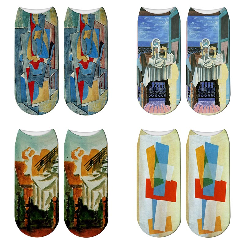 New 3D Printed Picasso Painting Funny Socks Summer Women World Famous Abstract Painting Short Ankle Socks Calcetines Mujer