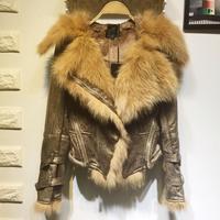 Осень зима новый для женщин змея Вышивка крестом картины искусственная кожа куртки пальто натуральным лисьим Мех животных с капюшоном черн