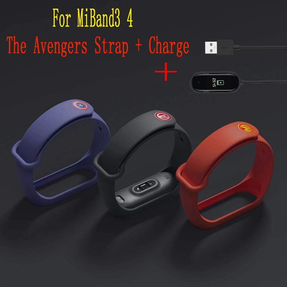 FIFATA New Colorful Silicone The <font><b>Avengers</b></font> Watch <font><b>Strap</b></font> For <font><b>Mi</b></font> <font><b>Band</b></font> <font><b>4</b></font> <font><b>Mi</b></font> <font><b>Band</b></font> 3 For <font><b>Mi</b></font> <font><b>Band</b></font> <font><b>4</b></font> NFC Charger Bracelet For Wristband image