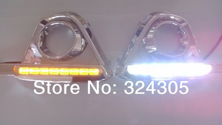 1set special for Mazda CX-5 DRL line light LED daytime running lights LED lights with turn signal paragraph white black 8W/pair 1 pair car led lights 12 24v drl head lights 8w turn light strip