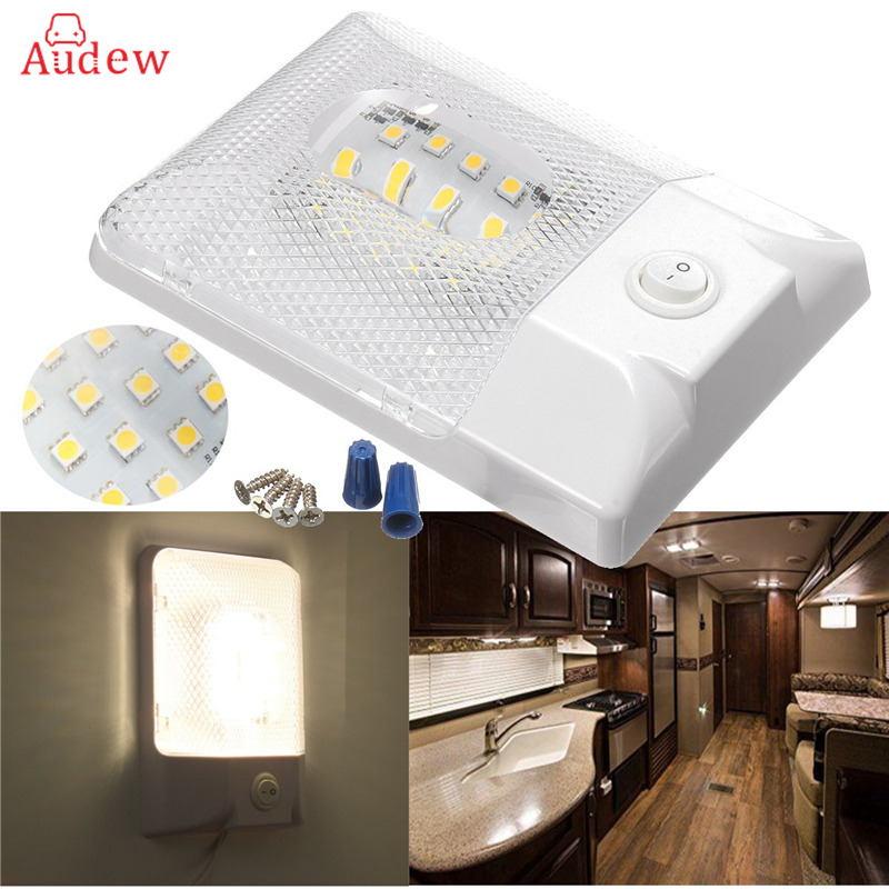 RV Interior Ceiling 24LED Wedge Panel Single Dome Light Long Lifespan with ON/OFF Switch For Camper Trailer Boat Lorry 12V bqlzr dc12 24v black push button switch with connector wire s ot on off fog led light for toyota old style