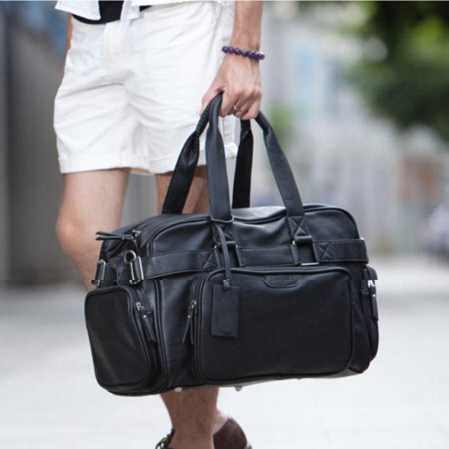 Mode PU zippé hommes ou femmes sac de voyage polyvalent solide imperméable noir Cool sacs à bandoulière sac à main multifonction Duffle-in Voyage Sacs from Baggages et sacs    2
