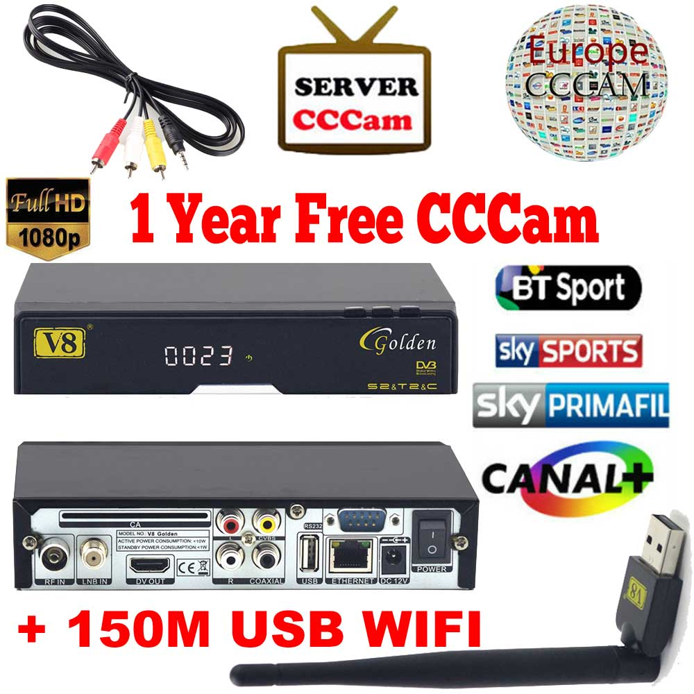 ФОТО V8 Golden DVB-S2/ DVB-T2 DVB-C Receptor satellite Receiver Support Europe cccam Cline 1 USB WIFI set top box