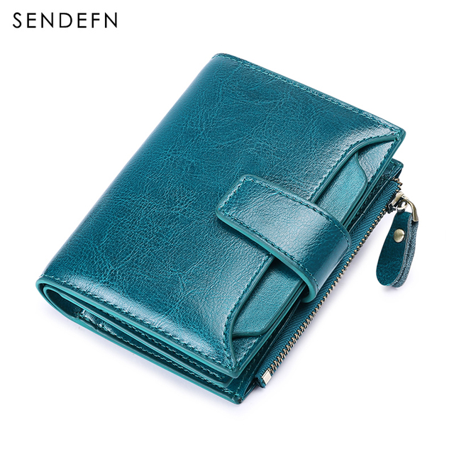 Sendefn Fashion Short Women Purse Bifold Split Leather Brand Purse Small Womens Purses And Wallets With Zipper Pocket 5191-68