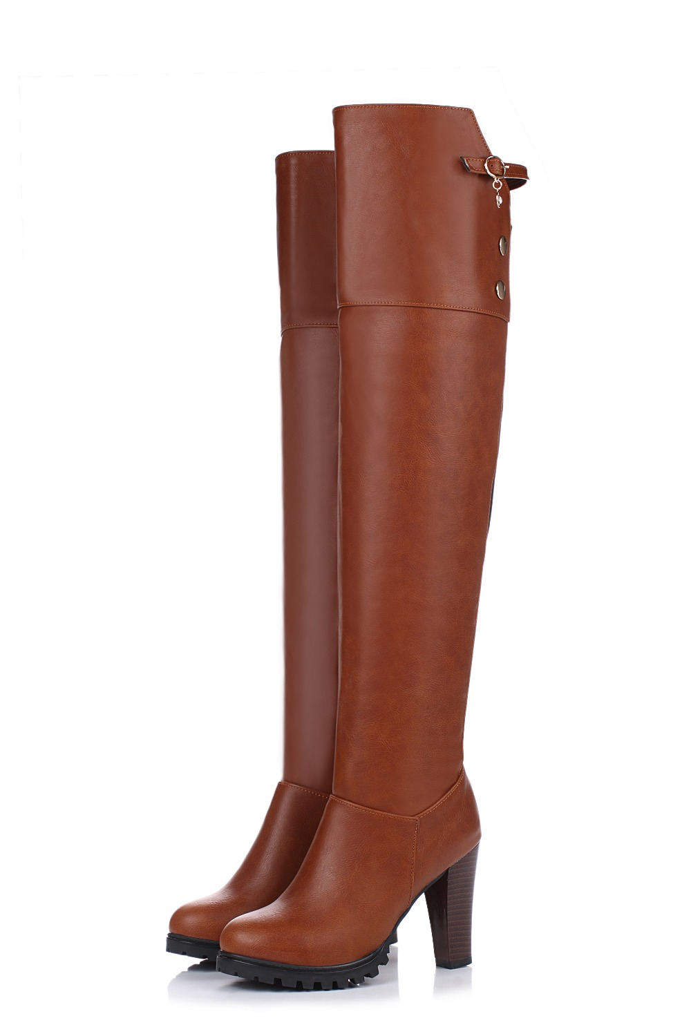 Original Intention Design Women Over-Knee Boots Round Toe Spike Heels Winter Boots Elegant Brown Red Shoes Woman Plus Size 3-13