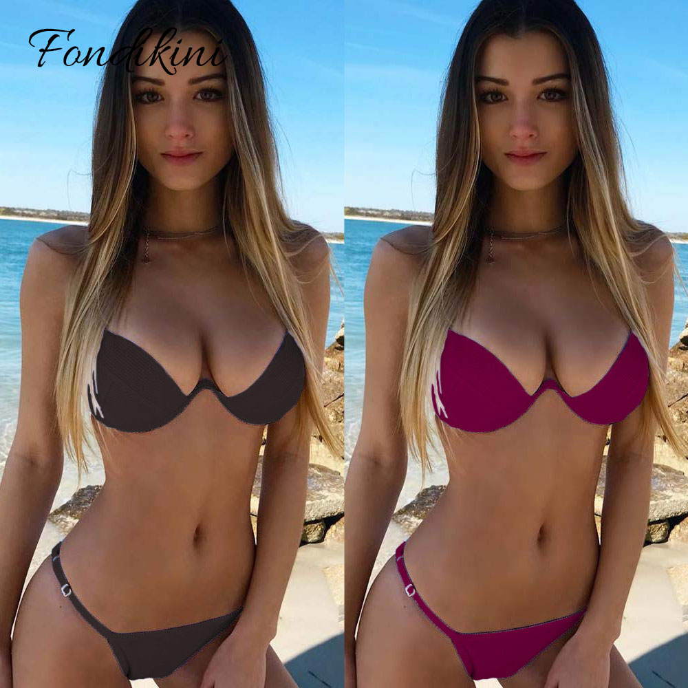 2018 solide Bikini Sexy Badeanzug Frauen Push Up Bademode Weibliche Brasilianische Biquini Maillot De Bain Femme Strand Tragen Badeanzüge