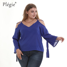 88c5e72e6450f3 Plegie Plus Size Loose Off Shoulder Ladies Tops Solid Royal Blue 2019  Summer Womens Tops and