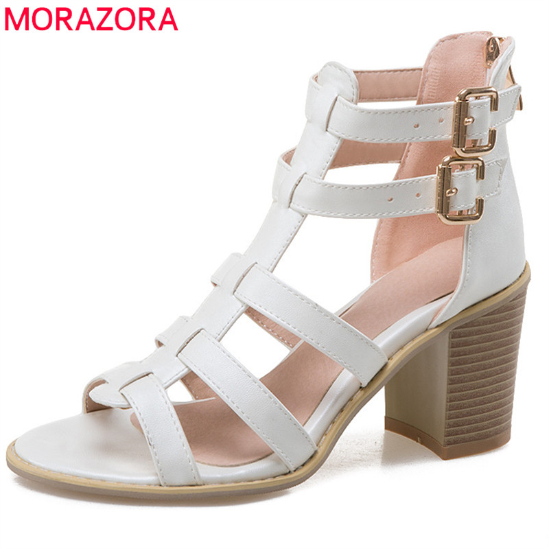 MORAZORA 2018 new arrival women sandals fashion punk casual ladies shoes buckle solid summer shoes comfortable high heels shoesMORAZORA 2018 new arrival women sandals fashion punk casual ladies shoes buckle solid summer shoes comfortable high heels shoes