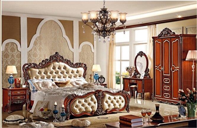 Verbazingwekkend Antieke slaapkamer meubels, houten tweepersoonsbed-in Bedden van DX-96