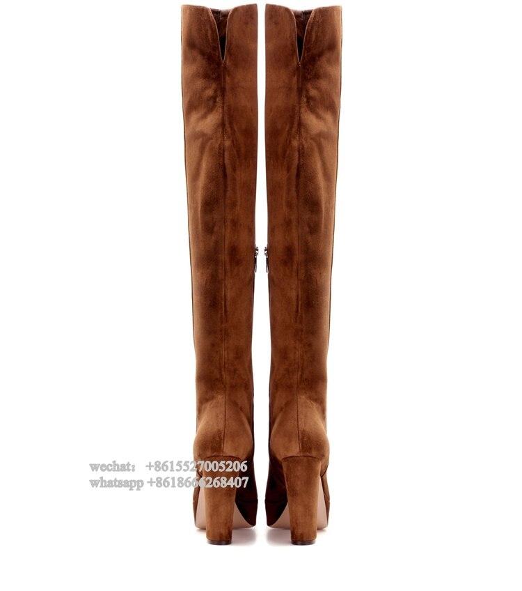 Talons forme Le Plate Glissière Latérale À Cuissardes Kneee D'hiver Femmes Showed Épais Bloc Hauts Brun Color Sur Bottes Mode As pXPqtwF