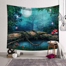 Two Dimensions Cartoon Psychedelic Forest Trees Tapestry Wall Hanging Decorative Home Decor Beach Towels Blanket Picnic Yoga Mat