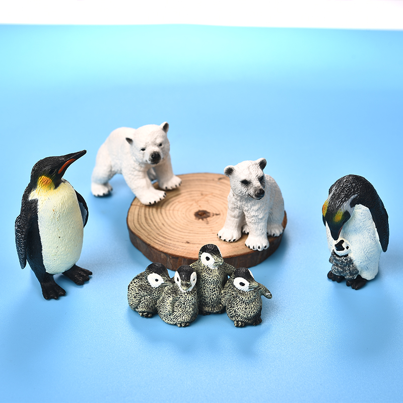 Collectible Animal Penuins Family Figurines Miniatures Home Ornaments Decor