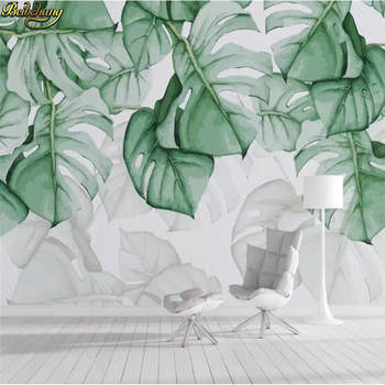 beibehang custom Tropical plant leaves Mural Wallpapers Living Room Bedroom Sofa TV Background 3D Photo Wallpaper for wall paper цена 2017
