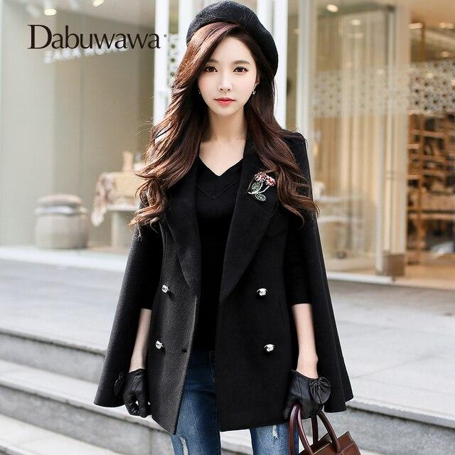 Dabuwawa Double breasted streetwear short trench autumn winter Sash back split cloak coat office Casual women outerwear overcoat